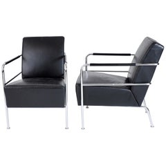 "Two ""Cinema"" Lounge Chairs in Black Leather by Gunilla Allard, Lammhults, Sweden"