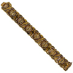 Ciner 1980s Abstract Gold Link Bracelet