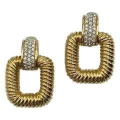 Ciner 1980s Gold Twist Door Knocker Earrings with Rhinestone Accent