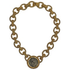 Ciner 1980s Roman Coin Large Link Necklace