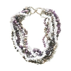 CINER Amethyst and Freshwater Pearl Torsade Necklace