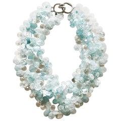 CINER Aquamarine Teardrop Beaded Necklace
