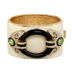 CINER Art Deco Cuff with Black & Ivory Enamel and Crystal & Period Rhinestones