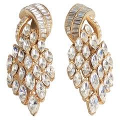 Ciner Art Deco Style Swarovski Crystal Statement Earrings