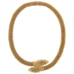 CINER Black Diamond Snake Necklace