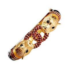 CINER Black Enamel and Siam Rhinestone Double Cougar Head Animal Bracelet