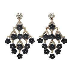 CINER Black Floral and Rhinestone Chandelier Earring