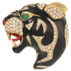 CINER Black Roaring Tiger Brooch with Crystal Rhinestones