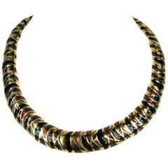 Ciner Bronze & Black Enameled Necklace New, Never Worn 1980s