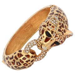 CINER c.1970s Gold Copper Enamel Swarovski Crystal Leopard Hinge Bangle Bracelet