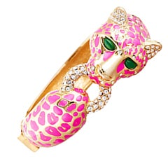 CINER Classic Hot Pink Enamel Cheetah Animal Bracelet