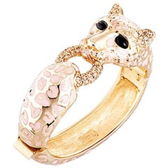 CINER Classic Pale Pink Enamel Cheetah Animal Bracelet