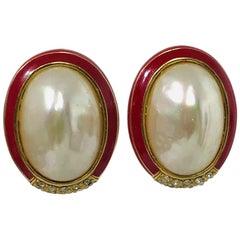 Ciner Coral Enamel Rhinestones with blister Pearl Earrings