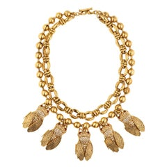 CINER Crystal and Gold Cicada Necklace