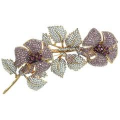 CINER Crystal and Violet Statement Floral Branch Spray Pin