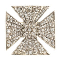 Ciner Crystal Encrusted Maltese Cross Brooch
