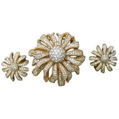 Ciner Crystal Gilt Metal Floral Brooch & Earrings Circa 1970
