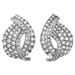 CINER Crystal Rhinestone Encrusted Rhodium Earrings