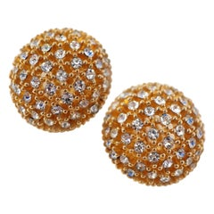 Ciner Crystal Rhinestone Gilded Dome Earrings, circa 1960s