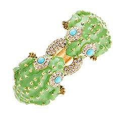 CINER Double Bumpy Frog Animal Bracelet in Green