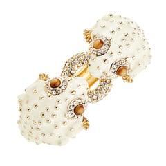 CINER Double Bumpy Frog Animal Bracelet in Ivory