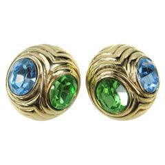 Ciner Earrings Blue & Green Swarovski Crystal New, Never worn