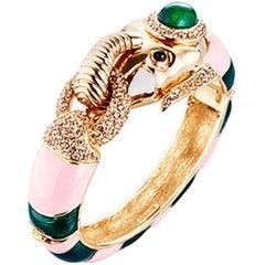 CINER Elephant Animal Bracelet in Pink and Jade