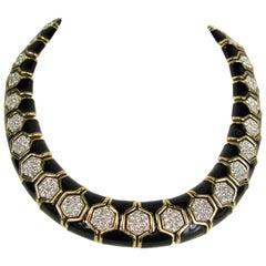 Ciner Enamel and Swarovski Crystal Choker Necklace New, Never Worn