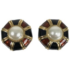 Ciner Enamel Gold and Faux Pearl Clip Back Earrings