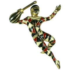 Ciner Enamel Pierrot brooch