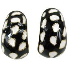 Ciner Enameled Black & White Gold  Earrings New, Never worn 1980s