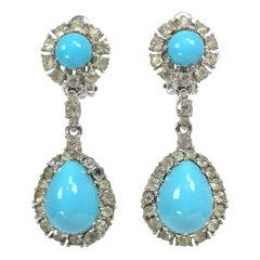 Ciner Faux Turquoise and Rhinestone Drop Earrings