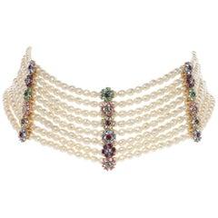 CINER Floral Rhinestone Encrusted Pearl Dog Collar Necklace