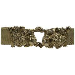 Ciner Frog Belt Buckle / 2 Leather Belts Never Worn - 1990s