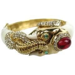 Ciner Gilt Gold swarovski crystal Enamel Mogul Elephant Bracelet - 1980s