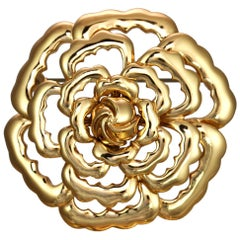 CINER Gold Abstract Rose Pin