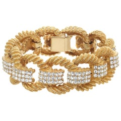 CINER Gold and Crystal Encrusted Rope Bracelet