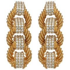 CINER Gold and Crystal Encrusted Rope Long Earring