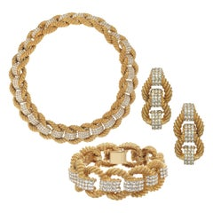 CINER Gold and Crystal Encrusted Rope Nautical Necklace, Bracelet, and Earring