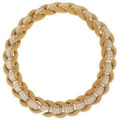 CINER Gold and Crystal Encrusted Rope Necklace