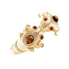 CINER Gold and Tiger's Eye Cabochon Double Frog Animal Bracelet