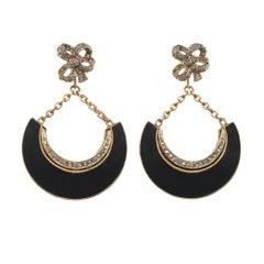 CINER Gold Black Enamel Crescent Earring