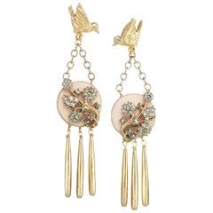 CINER Gold Free Bird Pink Statement Earrings