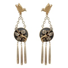 CINER Gold Free Bird Statement Earrings