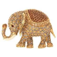 CINER Gold Large Elephant Brooch with Black Diamond and Smoked Topaz Rhinestones