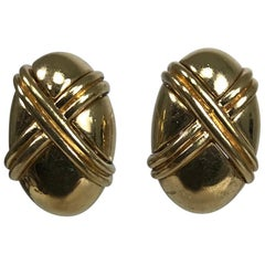 Ciner Gold Oval with Double X Classic Earrings