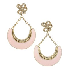 CINER Gold Pink Enamel Crescent Earring