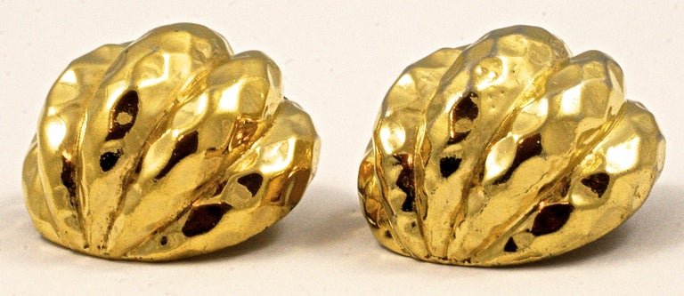 Ciner Gold Plated Domed Clip On Earrings with a Ridged and Patterned Design For Sale 3