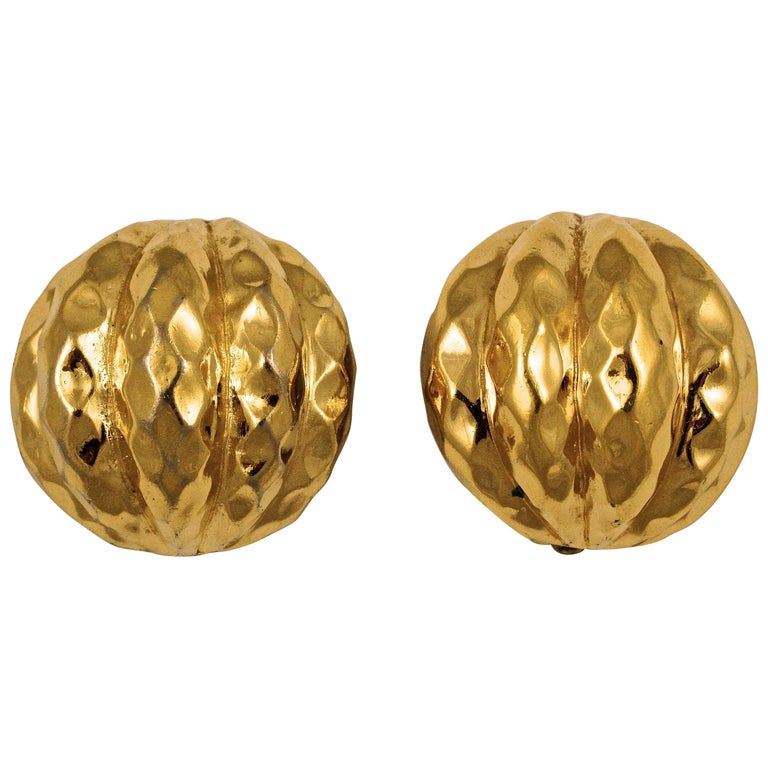 Ciner Gold Plated Domed Clip On Earrings with a Ridged and Patterned Design For Sale