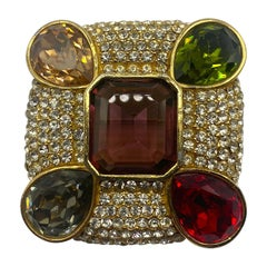 Ciner Gold, Rhinestone and Colored Crystal Stone Brooch
